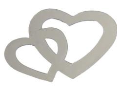 - Kalp Çiftli Metalize Süsleme Gümüş