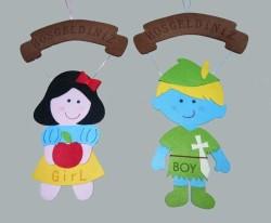 - Bebekli Küçük Pembe Kapı Süsü