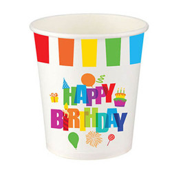 - Renkli Doğum Günü Karton Bardak (200 cc) 8'li Paket
