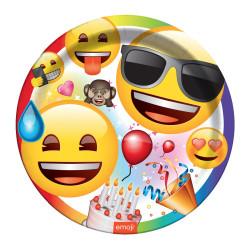 Emoji Parti Karton Tabak (23 cm) 8'li Paket - Thumbnail