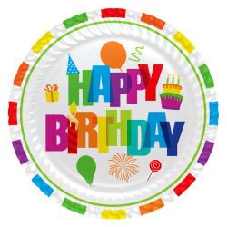- Renkli Doğum Günü Karton Tabak (23 cm) 8'li Paket