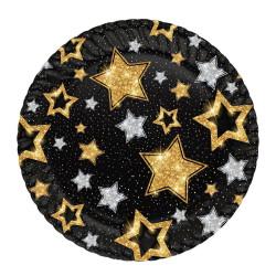 - Yıldızlar Siyah Karton Tabak (23 cm) 8'li Paket