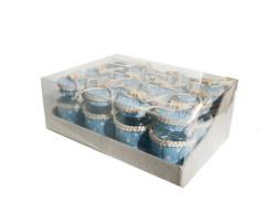 Kavanoz Plastik Kapaklı Süslenmiş Mavi - Thumbnail