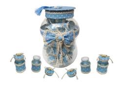 - Kavanoz Süslenmiş Kumbaralı Mavi