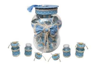 Kavanoz Süslenmiş Kumbaralı Mavi