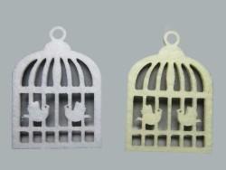 - Kuş Kafesi Kuşlu Keçe Beyaz
