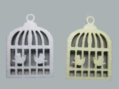 Kuş Kafesi Kuşlu Keçe Beyaz