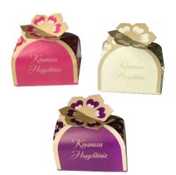 Kına Yaldızlı Çiçekli Karton Kutu Rengarenk P50-36 - Thumbnail