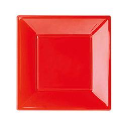 - Kırmızı Küçük Plastik Kare Tabak (17x17 cm) 8'li Paket