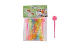 - Çiçek Modeli Karışık Renk Plastik Kürdan