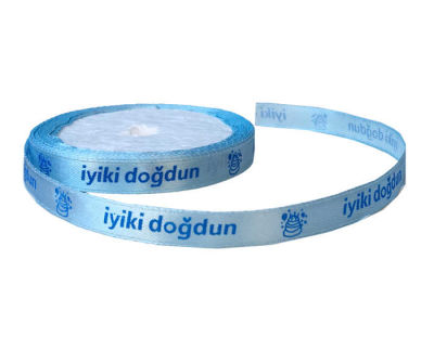 İyiki Doğdun Yazılı 1 cm 100mt Mavi Kurdela