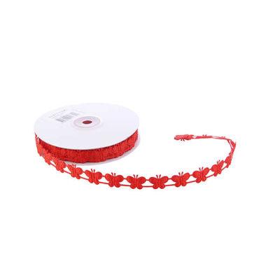 Kurdela Kelebekli Simli 2cm kırmızı