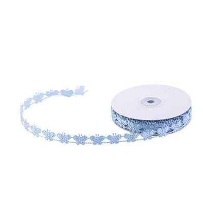 Kurdela Kelebekli Simli 2cm Mavi