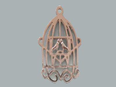 Kuş Kafesi Çift Kuşlu Gümüş