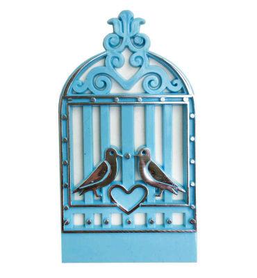 Kuş Kafesi Kalpli Plastik Mavi