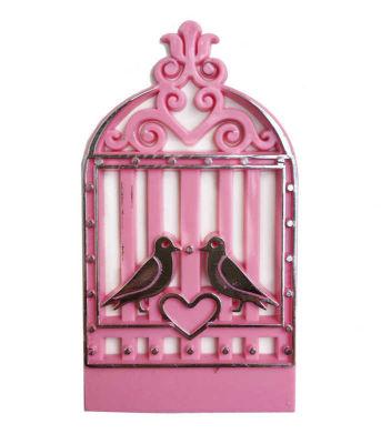 Kuş Kafesi Kalpli Plastik Pembe