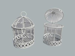 - Kuş Kafesi Kenar Altı Desenli Beyaz