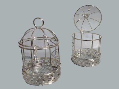 Kuş Kafesi Kenar Altı Desenli Gümüş