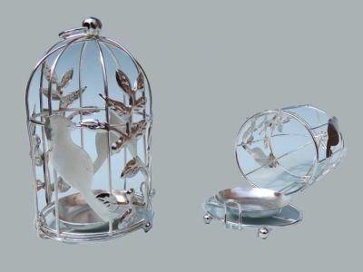 Kuş Kafesi Kuşlu Gümüş Mumluk