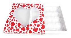 Kutu Çikolata Kutusu Kalpli 16 Lı Separatörlü Kırmızı Pk:1 Kl:44 - Thumbnail