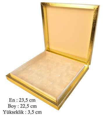 Kutu Çikolata Kutusu Karton 16 Lı Separatörlü Altın Pk:1 Kl:40