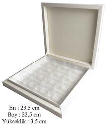 - Kutu Çikolata Kutusu Karton 16 Lı Separatörlü Beyaz Pk:1 Kl:40