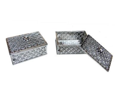 Kutu Dikdörtgen Büyük Gümüş 8*5,5cm