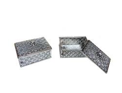 - Kutu Dikdörtgen Küçük Gümüş 6*4cm