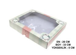 - Kutu Karton Asetat Kapaklı Büyük Boy26x33x5