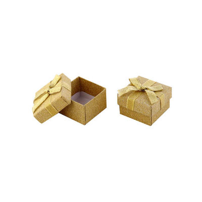 Kutu Karton Floklu Yaldızlı Altın