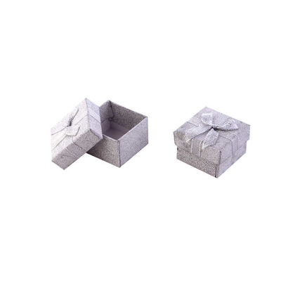 Kutu Karton Floklu Yaldızlı Gümüş