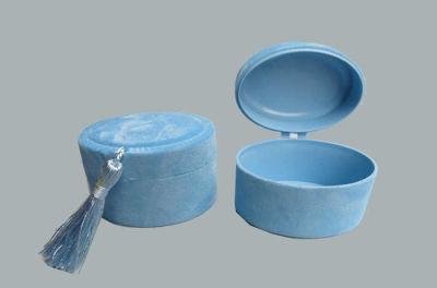 Kutu Oval Flok Kaplama Mavi