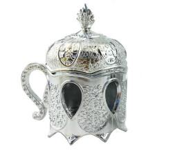 Kutu Plastik Kahvedanlık Modeli Gümüş - Thumbnail