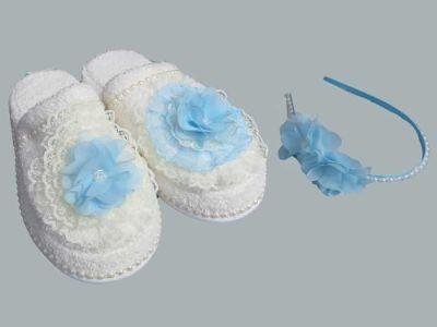 Lohusa Terliği İncili Plastik Süslü Mavi