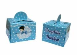 - Bebek Pusetli Mavi Karton Lokumluk