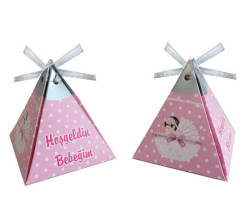 - Piramit Kurdelalı Bebekli Pembe Lokumluk Kartonu