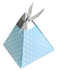 - Piramit Kurdelalı Puantiyeli Mavi Lokumluk Kartonu