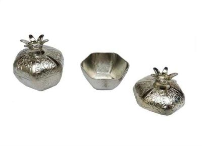 Nar Metal Küçük Gümüş Kutu Lokumluk