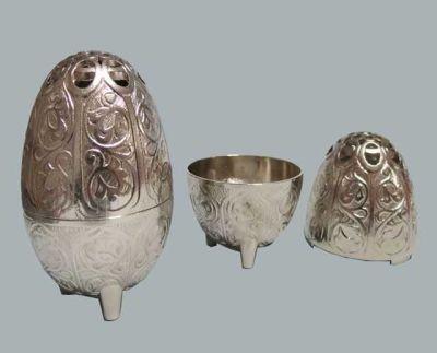Yumurta Metal Gümüş Kutu Lokumluk