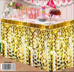 - Masa Kenarı Eteği Kalpli Fonsüsü Metalize Altın Pk:1 Kl:50