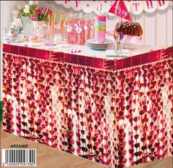 - Masa Kenarı Eteği Kalpli Fonsüsü Metalize Kırmızı Pk:1 Kl:50
