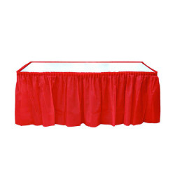 - Plastik Masa Kenarı Eteği Kırmızı (422x72 cm) 1'li Paket