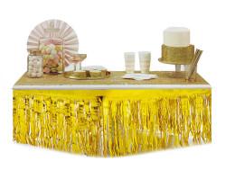 Metalize Masa Kenarı Eteği Beyaz - Thumbnail