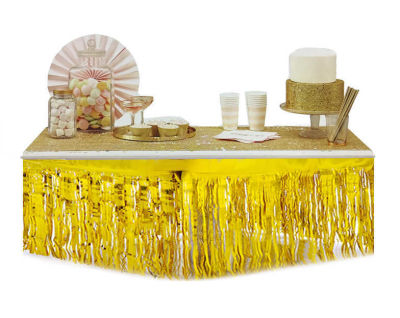 Metalize Masa Kenarı Eteği Beyaz