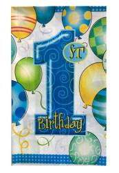 - 1 Yaş Happy Birthday Masa Örtüsü Mavi (108x180 cm)