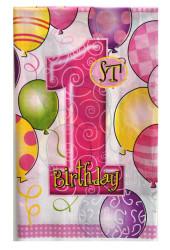 - 1 Yaş Happy Birthday Masa Örtüsü Pembe (108x180 cm)