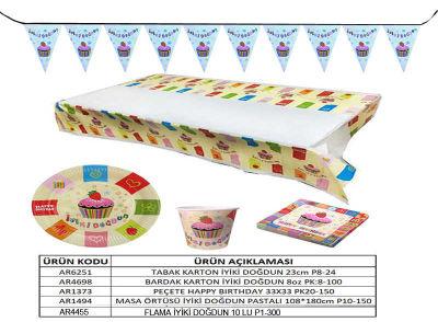 İyiki Doğdun Pastalı Masa Örtüsü (108x180 cm) 1'li Paket