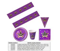İyiki Doğdun Yıldızlı Masa Örtüsü (108x180 cm) 1'li Paket - Thumbnail