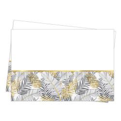 - Altın Simli Yapraklar Plastik Masa Örtüsü Beyaz (120x180 cm) 1'li Paket