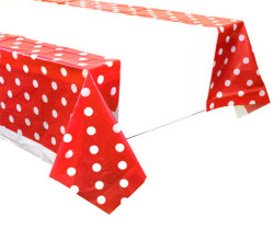 - Puanlı Kırmızı Masa Örtüsü (108x180 cm) 1'li Paket